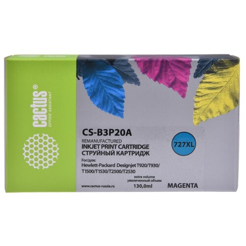 Фото - Картридж струйный Cactus №727 CS-B3P20A пурпурный (130мл) для HP DJ T920/T1500/T2530 картридж струйный cactus cs c9426 85 пурпурный для hp dj 30 130 29мл