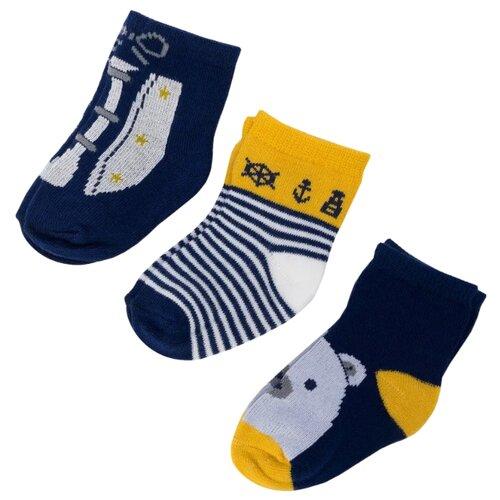 Носки Mayoral комплект 3 пары размер 16, синий/бежевый/белый  - купить со скидкой