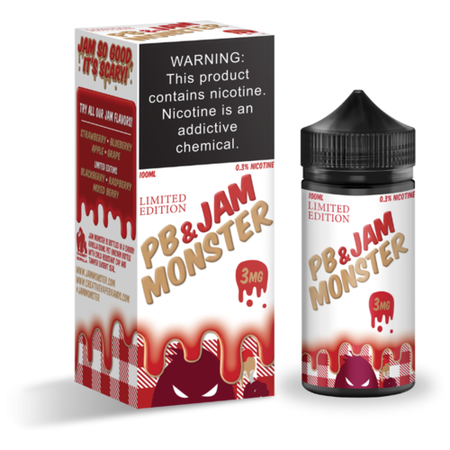 Жидкость для электронных испарителей Jam Monster PB & Jam Strawberry 3 мг/г 100 мл