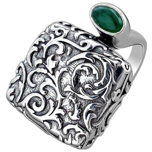 Эстет Кольцо с 2 хризопразами из чернёного серебра К3К453396Ч, размер 18.5 кольцо с хризопразами из чернёного серебра