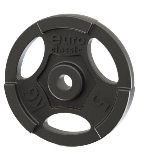 Диск Euro classic чугунный окрашенный d-26 мм 5 кг черный