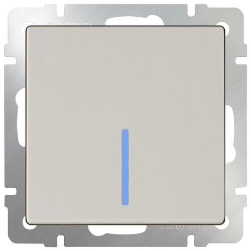 Выключатель 1-полюсный Werkel WL03-SW-1G-2W-LED,10А, слоновая кость werkel выключатель одноклавишный проходной с подсветкой серебряный wl06 sw 1g 2w led 4690389053863