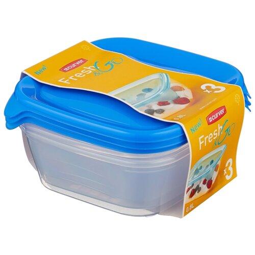 CURVER Набор контейнеров для СВЧ FRESH & GO 0.8 л 3 шт голубой
