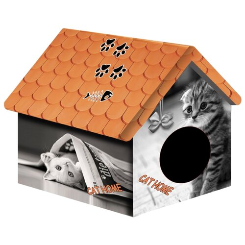 Домик для собак и кошек PerseiLine Кошка с газетой 33х33х40 см серый/оранжевый