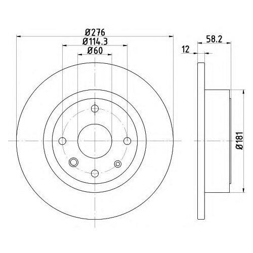 цена на Тормозной диск задний Valeo R7005 276x12 для Chevrolet Epica, Daewoo Tosca