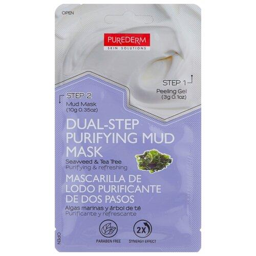 Purederm Двухэтапная очищающая грязевая маска с экстрактами водорослей и чайного дерева, 13 г pixi glow mud маска очищающая грязевая glow mud маска очищающая грязевая