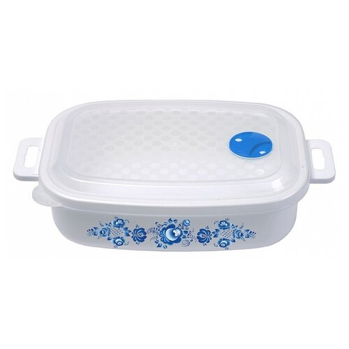 Phibo Емкость для холодильника и микроволновой печи с декором 1,6л (431184802) голубой с рисунком