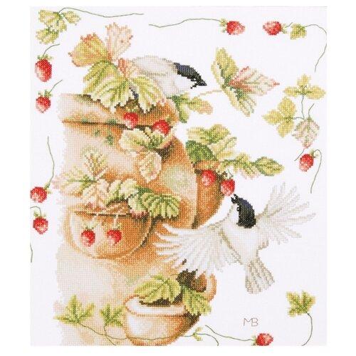 Купить Lanarte Набор для вышивания Птички и земляника 30 х 33 см (0168599-PN), Наборы для вышивания