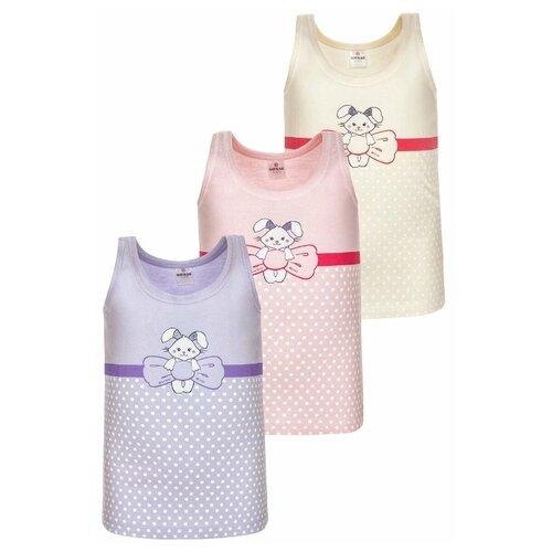 Купить Майка BAYKAR 3 шт., размер 146/152, молочный/розовый/сиреневый, Белье и купальники