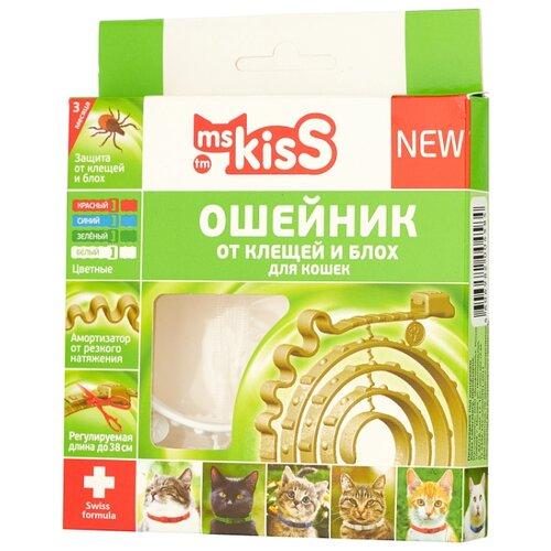 Ms.Kiss ошейник от блох и клещей New для кошек и котят, 38 см, белый