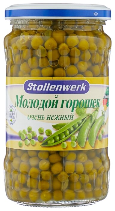 Зелёный горошек Stollenwerk молодой очень нежный, стеклянная банка 330 г