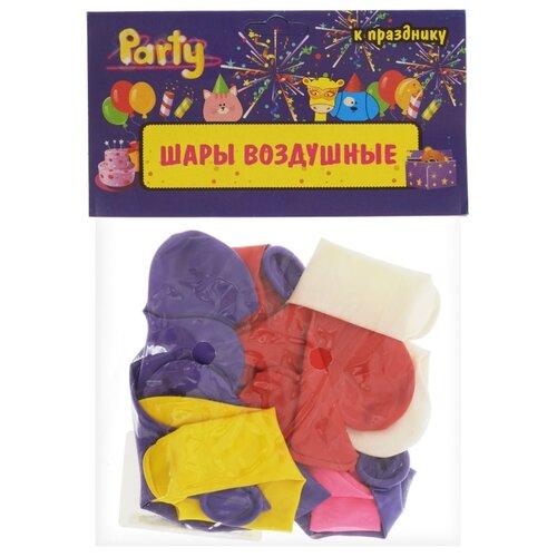 Набор воздушных шаров Action! Сердечки однотонные (10 шт.) фиолетовый/красный/желтый