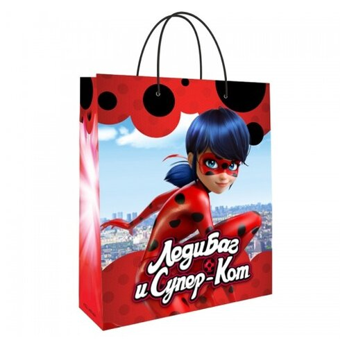 Пакет подарочный ND Play Леди Баг и Супер-Кот 18х23х10 красный/голубой