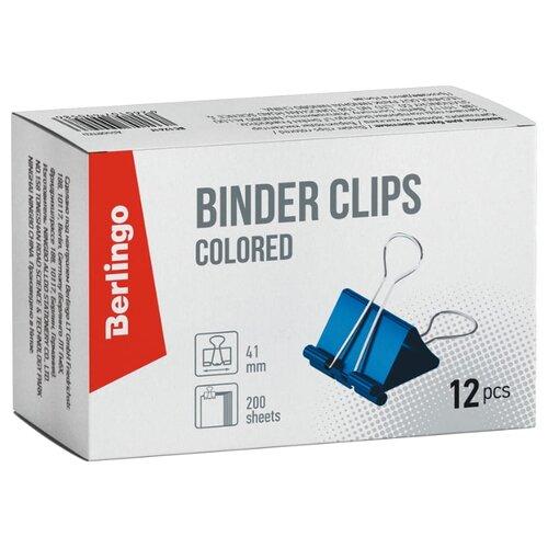 Купить Berlingo Зажимы для бумаг 41мм BC1241f (12 шт.) разноцветный, Скрепки, кнопки
