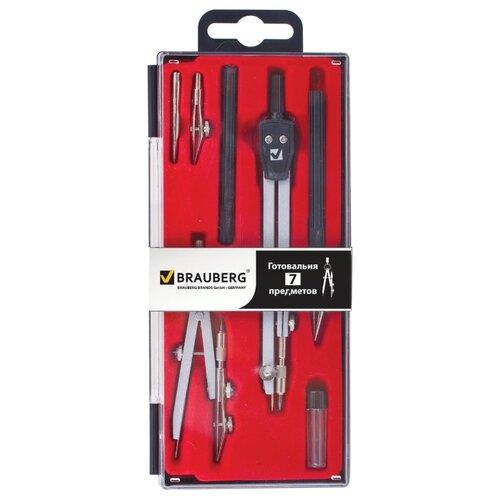 BRAUBERG Готовальня Architect 7 предметов (210346) серебристый/черный, Чертежные инструменты  - купить со скидкой