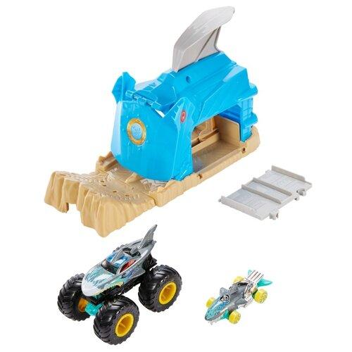 Купить Hot Wheels Монстр-трак Пусковой гараж Шарк Рик GKY03 голубой/коричневый, Детские парковки и гаражи