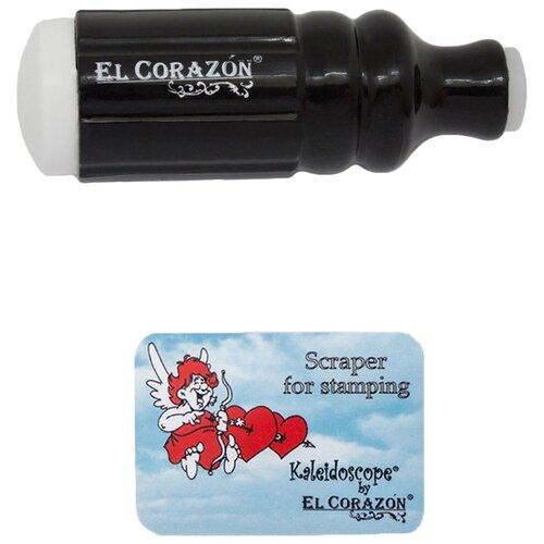 Купить Набор EL Corazon №2 двусторонний штамп и скрапер черный