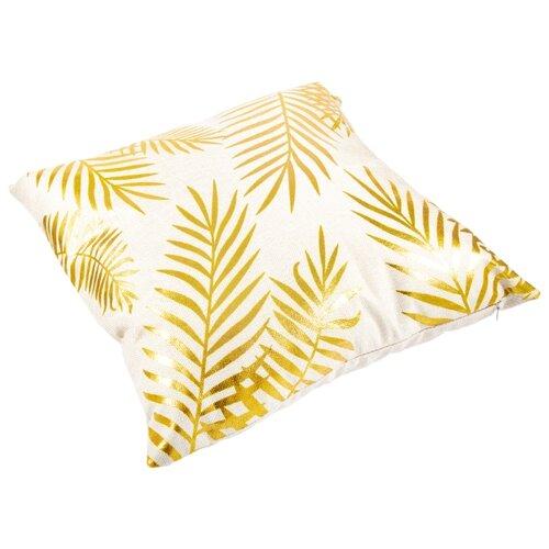 Чехол для подушки Русские подарки 76325, 45 х 45 см белый/золотой