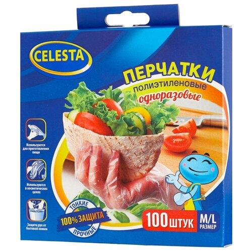 Перчатки Celesta полиэтиленовые одноразовые, 50 пар, размер M/L, цвет прозрачный