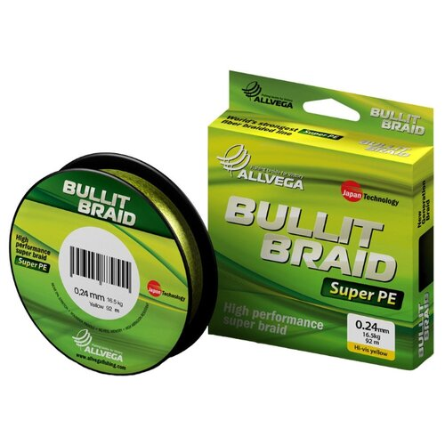 Плетеный шнур ALLVEGA BULLIT BRAID hi-vis yellow 0.24 мм 92 м 16.5 кг