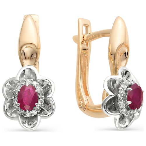 АЛЬКОР Серьги Цветы с бриллиантами, рубинами из красного золота 585 пробы 21979-103