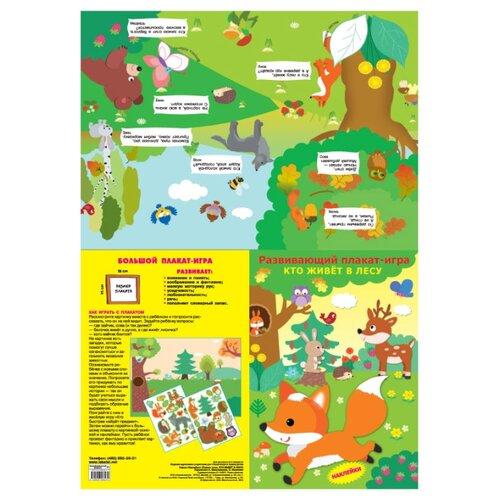 Плакат Искатель Кто живёт в лесу зеленый, Обучающие плакаты  - купить со скидкой
