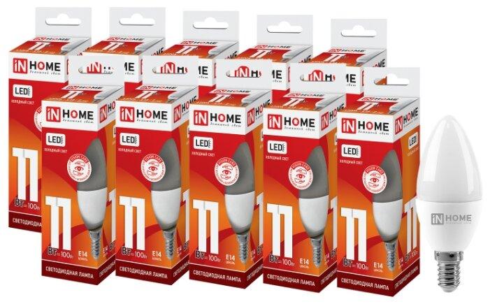 Упаковка светодиодных ламп 10 шт In Home LED-VC 820lm, E14, C37, 11Вт