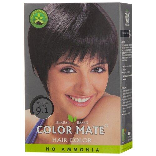Хна Color Mate травяная краска для волос, тон 9.1 natural black, 75 г краска для волос хна купить