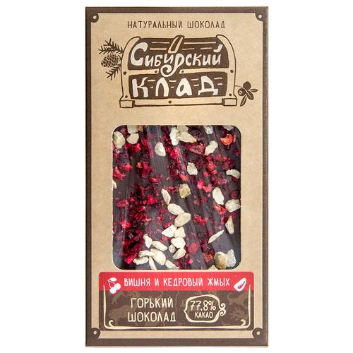 Шоколад Сибирский Клад горький Вишня и кедровый жмых, 100 г