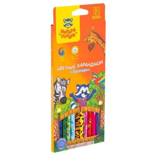 Купить Мульти-Пульти Карандаши цветные Зоопарк, 12 цветов (CP_19277), Цветные карандаши