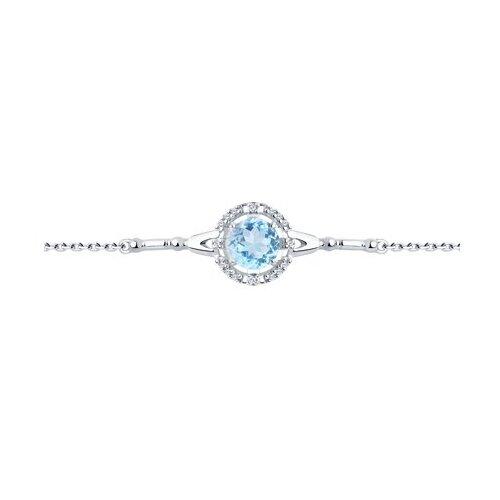 Diamant Браслет из серебра с топазом и фианитами 94-350-00679-1, 17 см, 2.75 г