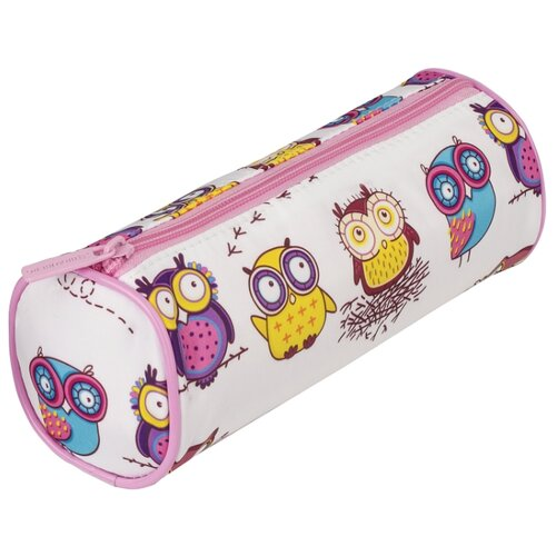 Купить BRAUBERG Пенал-тубус Owls (229007) белый/розовый, Пеналы