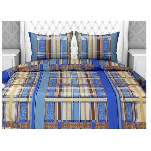Постельное белье 2-спальное Fiorelly Геометрия голубой 060/4, бязь клетки