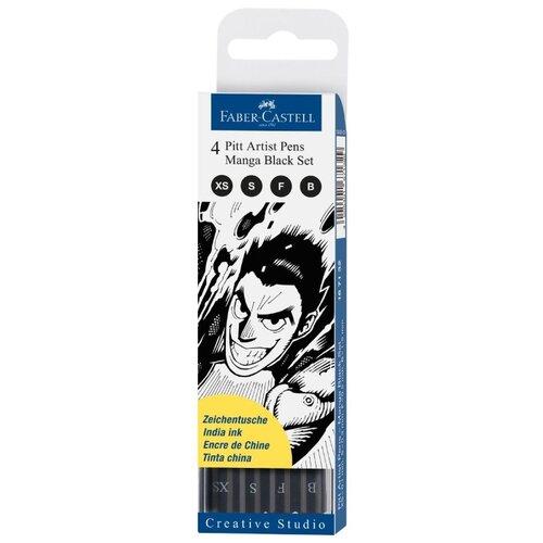 Faber-Castell набор капиллярных ручек Pitt Artist Pens Manga Black set, 0,1/0,3/0,5 мм 4 шт. (167132), черный цвет чернил набор капиллярных ручек manga shonen