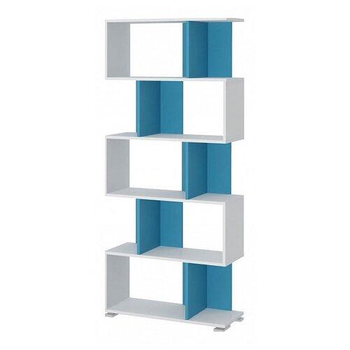 Стеллаж Мэрдэс СЛ-5 10 полок, материал: ЛДСП, ШxГxВ: 75х28х173.1 см, белый жемчуг/синий мрамор