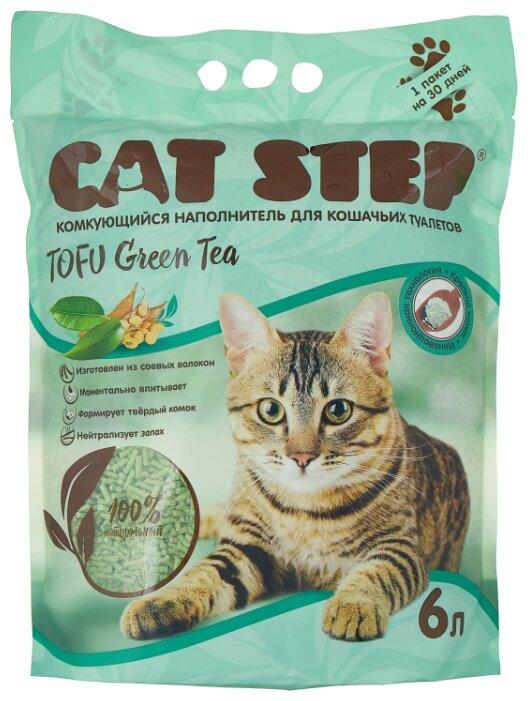 Комкующийся наполнитель Cat Step Tofu Green Tea растительный 6 л