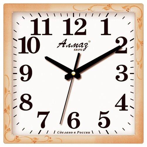 Часы настенные кварцевые Алмаз K10 бежевый/белый часы настенные кварцевые алмаз p34 бежевый белый