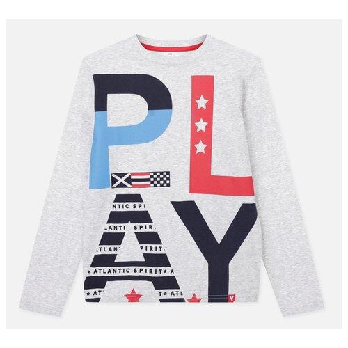 Купить Лонгслив playToday размер 122, серый/голубой/красный, Футболки и майки