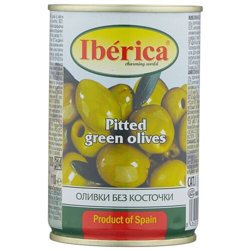Iberica Оливки без косточки в рассоле, жестяная банка 300 г ideal оливки зеленые без косточки жестяная банка 300 г