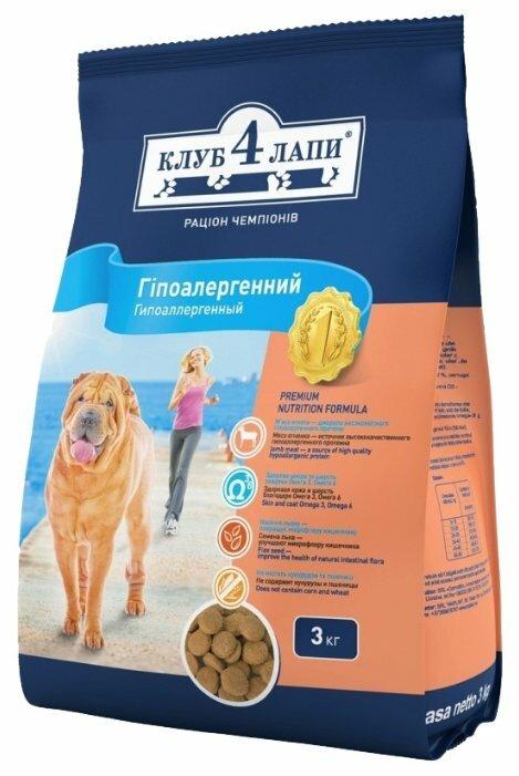 Корм для собак Клуб 4 Лапы Гипоаллергенный с ягненком и рисом для собак