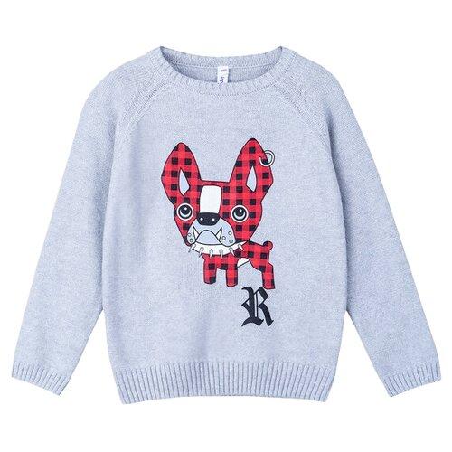 Купить Джемпер playToday размер 116, светло-серый, красный, белый, черный, Свитеры и кардиганы