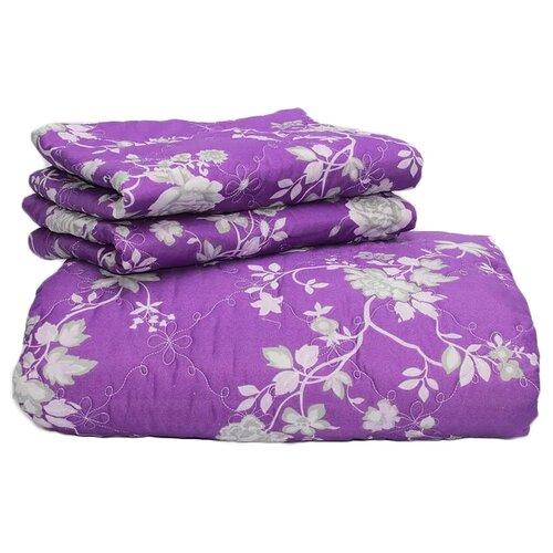 Комплект с покрывалом Нежность Настурция 220х240 см с наволочками (фиолетовый с цветами) фиолетовый