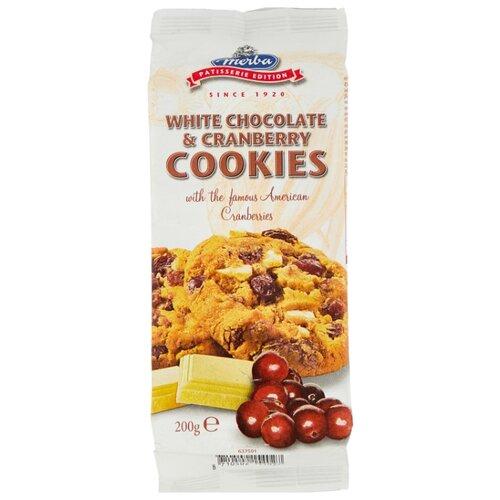 Печенье Merba с клюквой и белым шоколадом, 200 г бальзен печенье сендвич pick up с белым шоколадом bahlsen