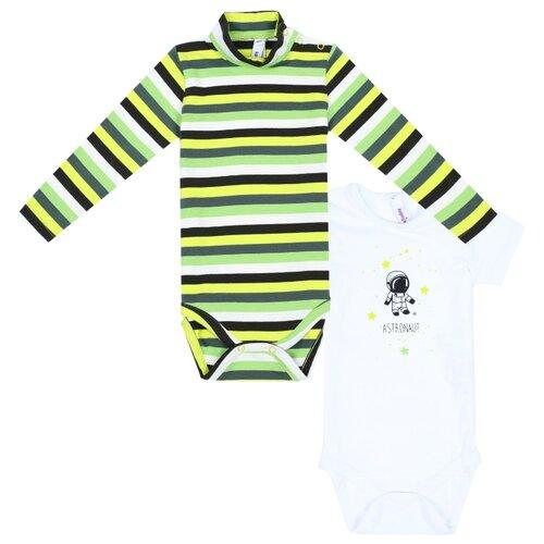 Боди playToday размер 74, белый/зеленый  - купить со скидкой