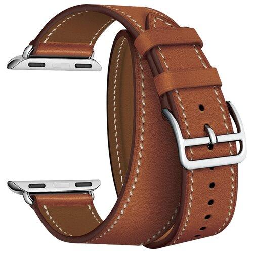 Lyambda Ремешок двойной кожаный Meridiana для Apple Watch 42/44 mm коричневый lyambda ремешок двойной кожаный meridiana для apple watch 38 40 mm черный
