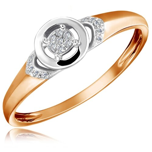 Бронницкий Ювелир Кольцо из красного золота R01-D-R312852DIA-R17, размер 17 бронницкий ювелир кольцо из красного золота r01 d 1983089ab r17 размер 17