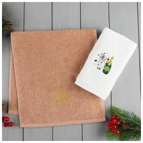 Этель набор полотенец С Новым годом белый/коричневый
