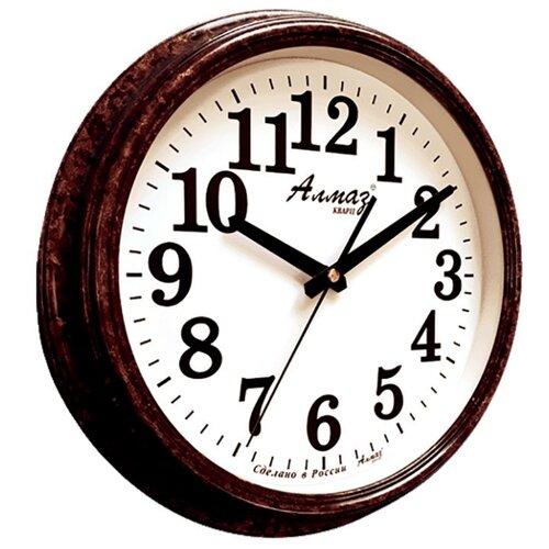Часы настенные кварцевые Алмаз A79-A85 темно-коричневый/белый часы настенные кварцевые алмаз a79 a85 бежевый белый