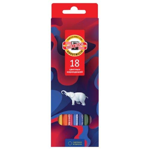 Купить KOH-I-NOOR Карандаши цветные Элефант, 18 цветов (3553018036KS), Цветные карандаши