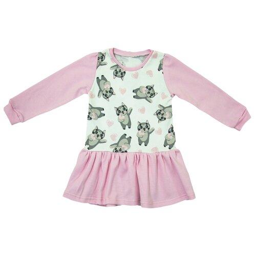 Платье Глория Смэл Неженка размер 92, розовый/кошки